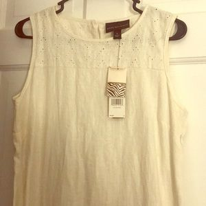 White linen shift dress